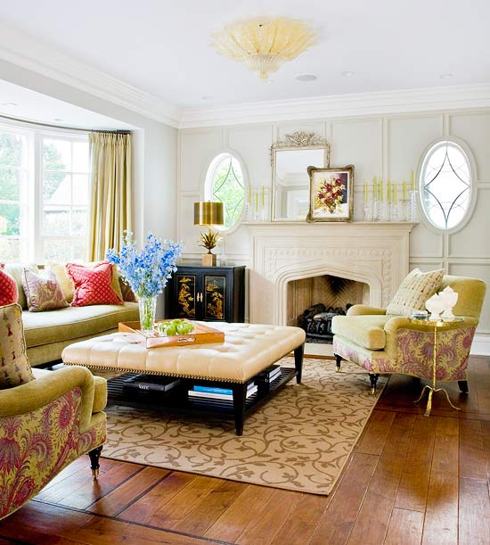 Elegant, Traditional Furnishings Complement The Ornate Architecture Of This  Formal Living.