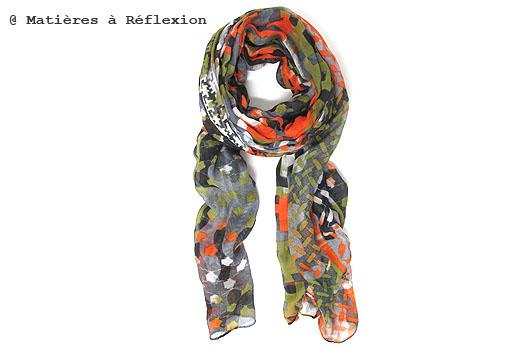 Foulard unisex Lala Berlin orange et kaki