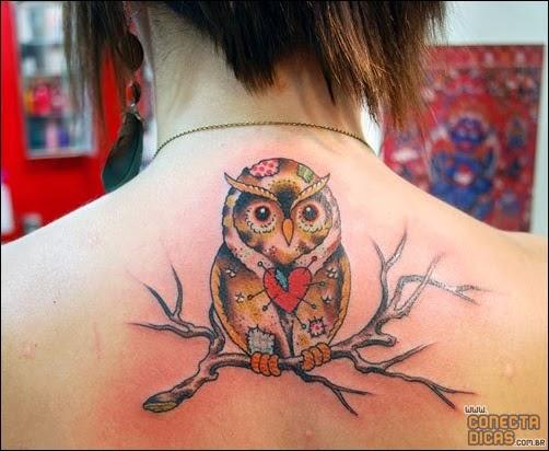 Corujas - Tatuagens Femininas nas costas