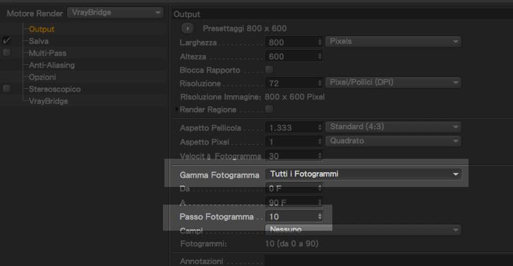 passo fotogramma per animazione camera con cinema4D e Vray