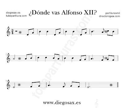 Dónde vas Alfonso XII partitura para flauta, violín, saxofón alto, trompeta, clarinete, soprano sax, tenor, oboe, corno inglés, trompa, fliscorno... en clave de Sol