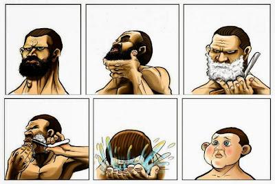 Humor hombre afeitandose