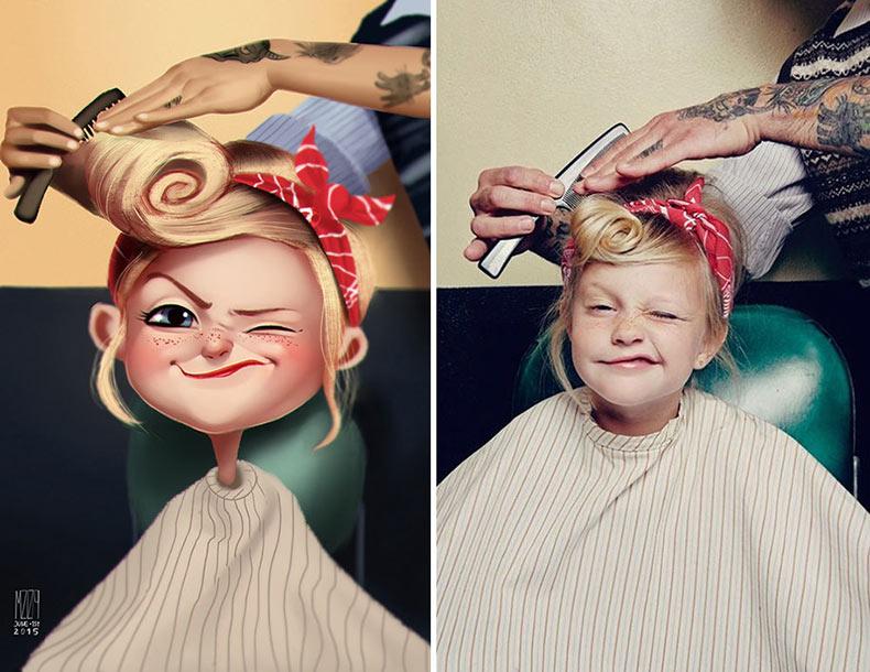 Fotos de personas al azar convertidas en divertidas ilustraciones por Julio Cesar