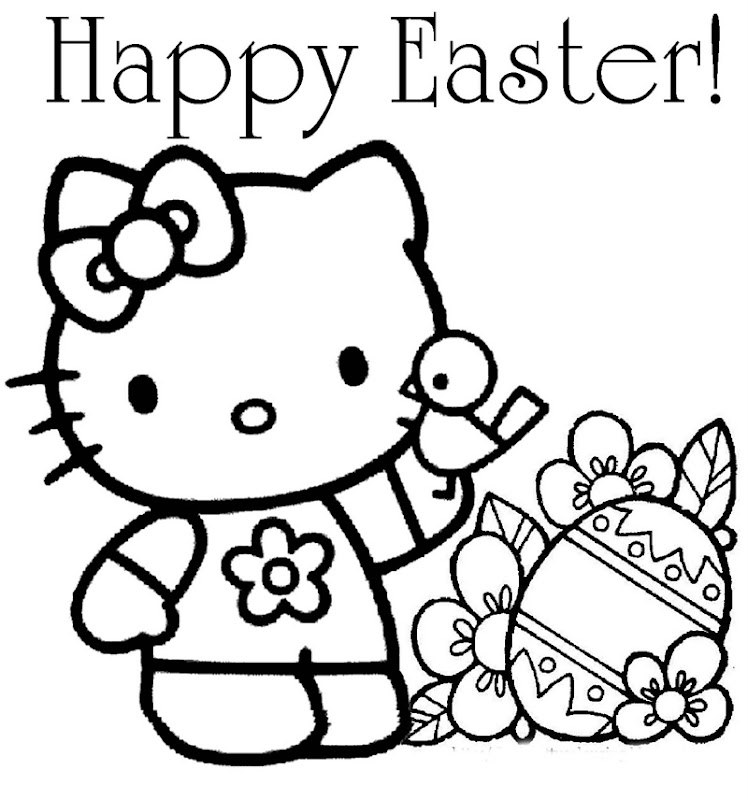 Easter Coloring Pages surrounded with cartoon Kitty holding easter  title=