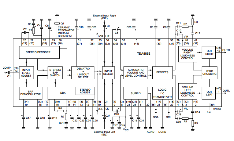 amplifiercircuits com architecture diagram with hi fi audio processor (i2c bus controlled) for application in tv sets, vcrs and multimedia circuit diagram sap decoder and audio processor