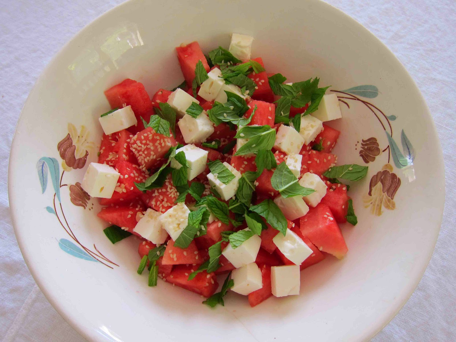 melonsallad fetaost mynta