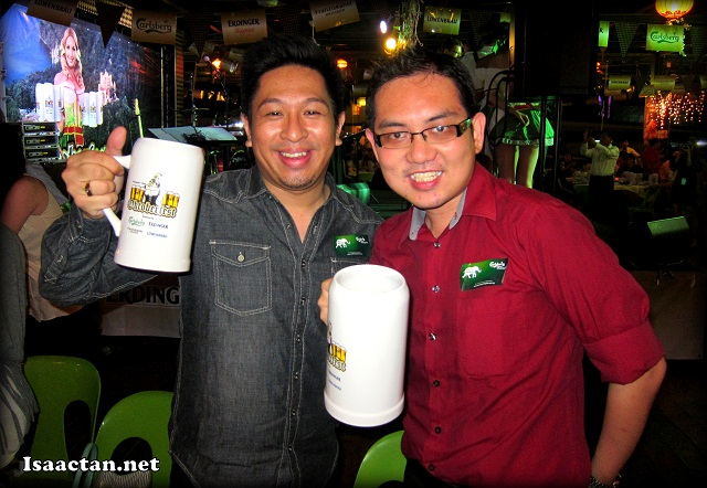 Raising our drinks to Carlsberg's Oktoberfest 2012 Launch with Jude Benjamin from Carlsberg