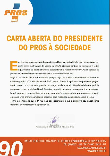 CARTA ABERTA DO PRESIDENTE DO PROS À SOCIEDADE