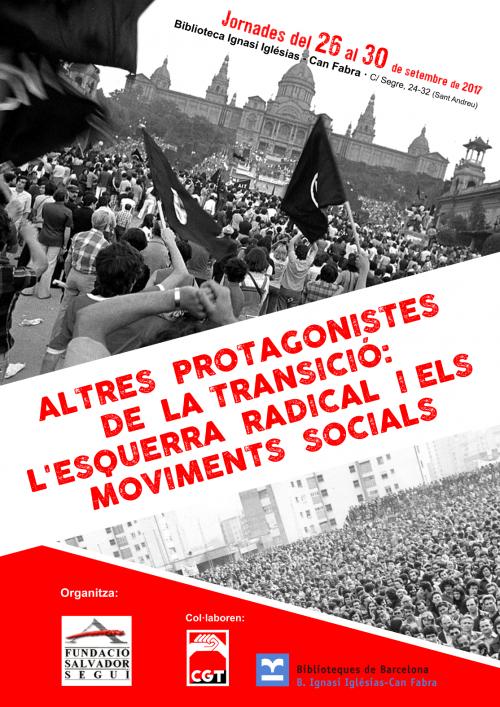 Jornades 'Altres Protagonistes de la Transició', del 26 al 30 de setembre a Barcelona