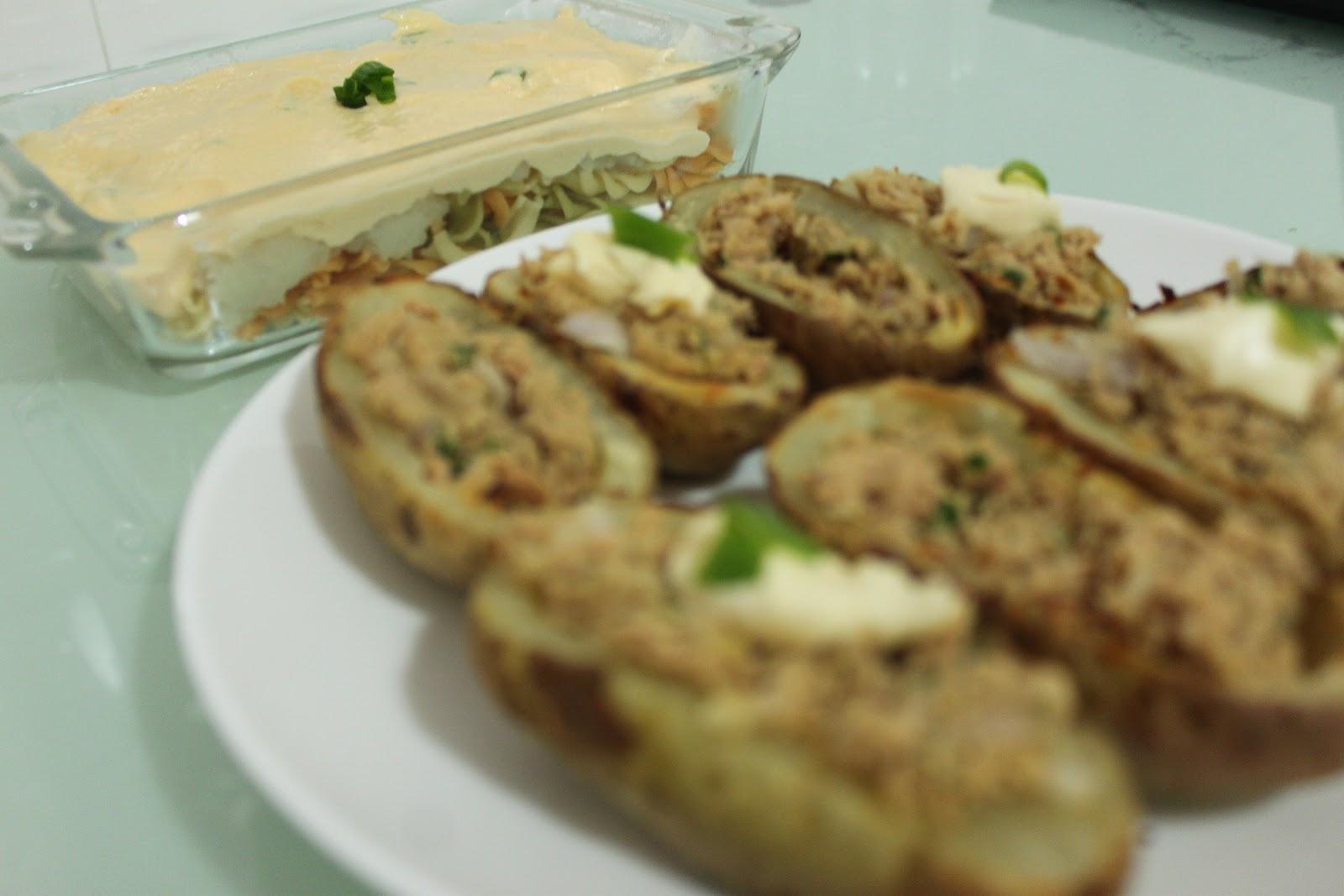 ... up, it's good for you. : Tuna melt potato skin + Alfredo spiral pasta