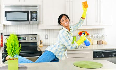 5 Health Benefits of Cleaning  - woman girl clean house work kitchen