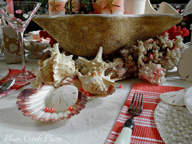 Plum Creek Place - DIY giant clam shell Coral Sunrise Tablescape.