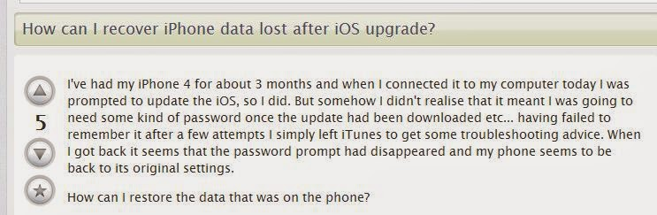 lost iphone data after ios update
