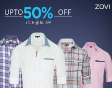 PayTM:Buy Zovi Shirts upto 50% off + 40% Cashback from at Rs. 249
