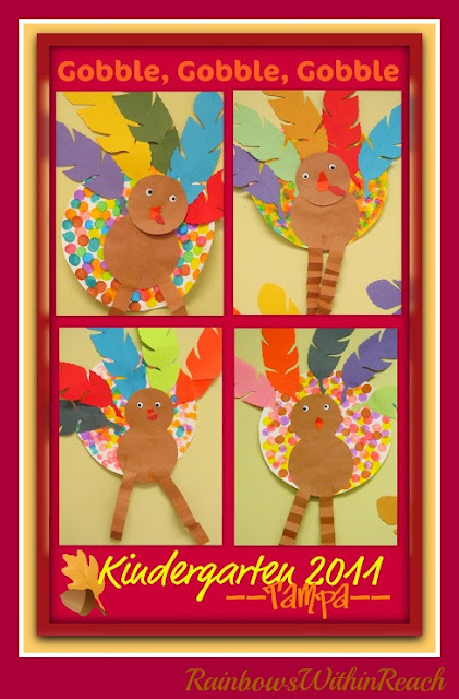 photo of: Kindergarten Turkey Art Project for Thanksgiving in Kindergarten at PreK+K Sharing