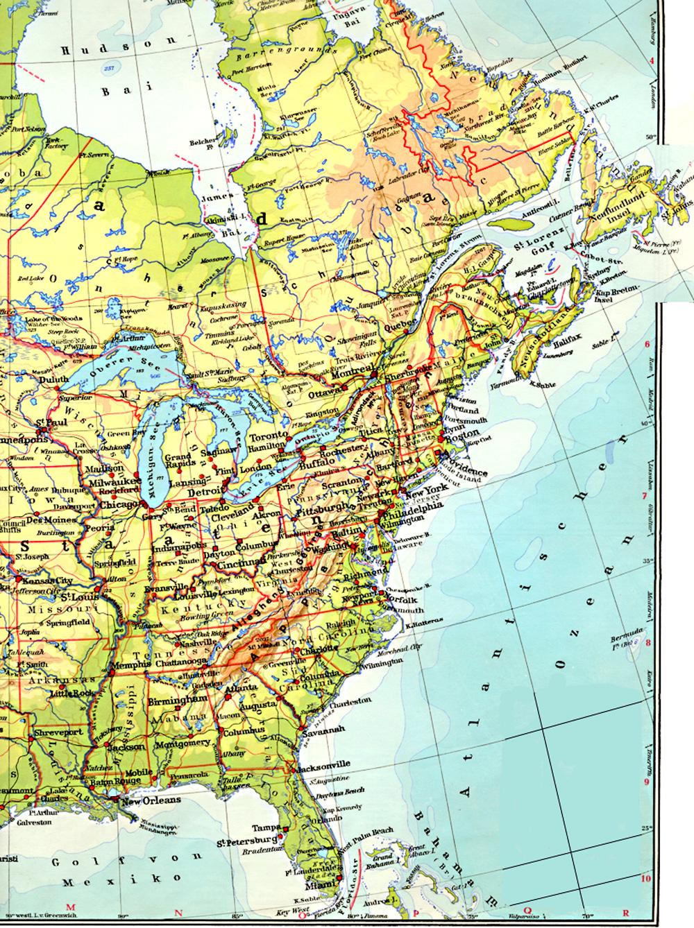 Atlantic Seaboard Watershed Wikipedia World America Centered Free - Physical map of northeast us