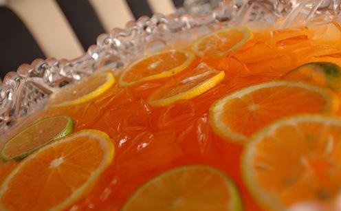punch apéro au gin, sirop de grenades, oranges