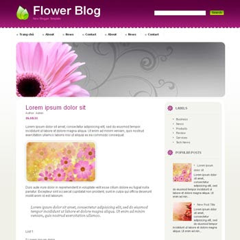 Flower Blog blog template. download blogger template for girly or personal blogs