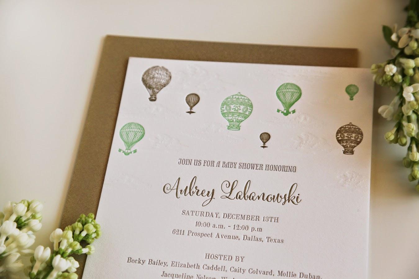 Hot Air Balloon Invitation Baby Shower