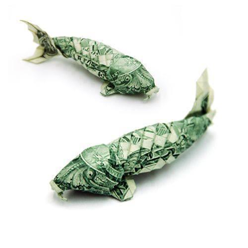 Origami Dollar bentuk ikan lele