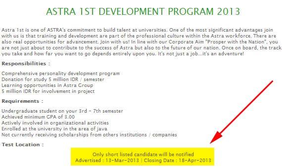 Beasiswa Astra 2013