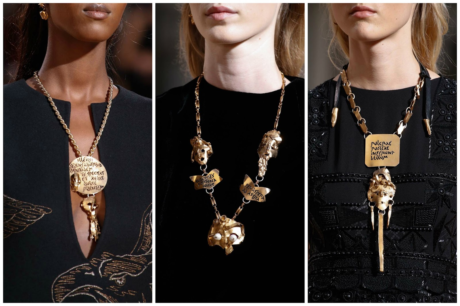 Close ups details runway jewelry Valentino