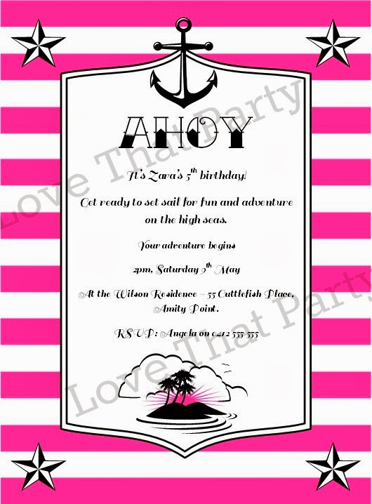 Sailor Jerry Style, High Seas Pirate Adventure Printable Invitation for girls in Pink Stripes- Love That Party. www.lovethatparty.com.au