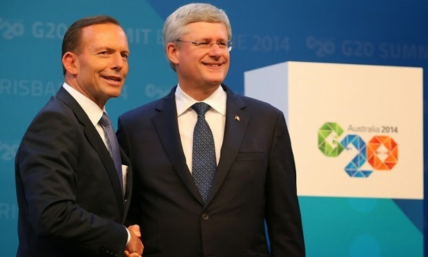 Last year Tony Abbott and Stephen Harper had jointly dissented from support for the Green Climate Fund. (Credit: Chris Hyde/Getty Images) Click to Enlarge.