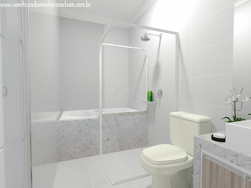 Construindo minha casa clean projeto do banheiro da su te - Suite cm ...