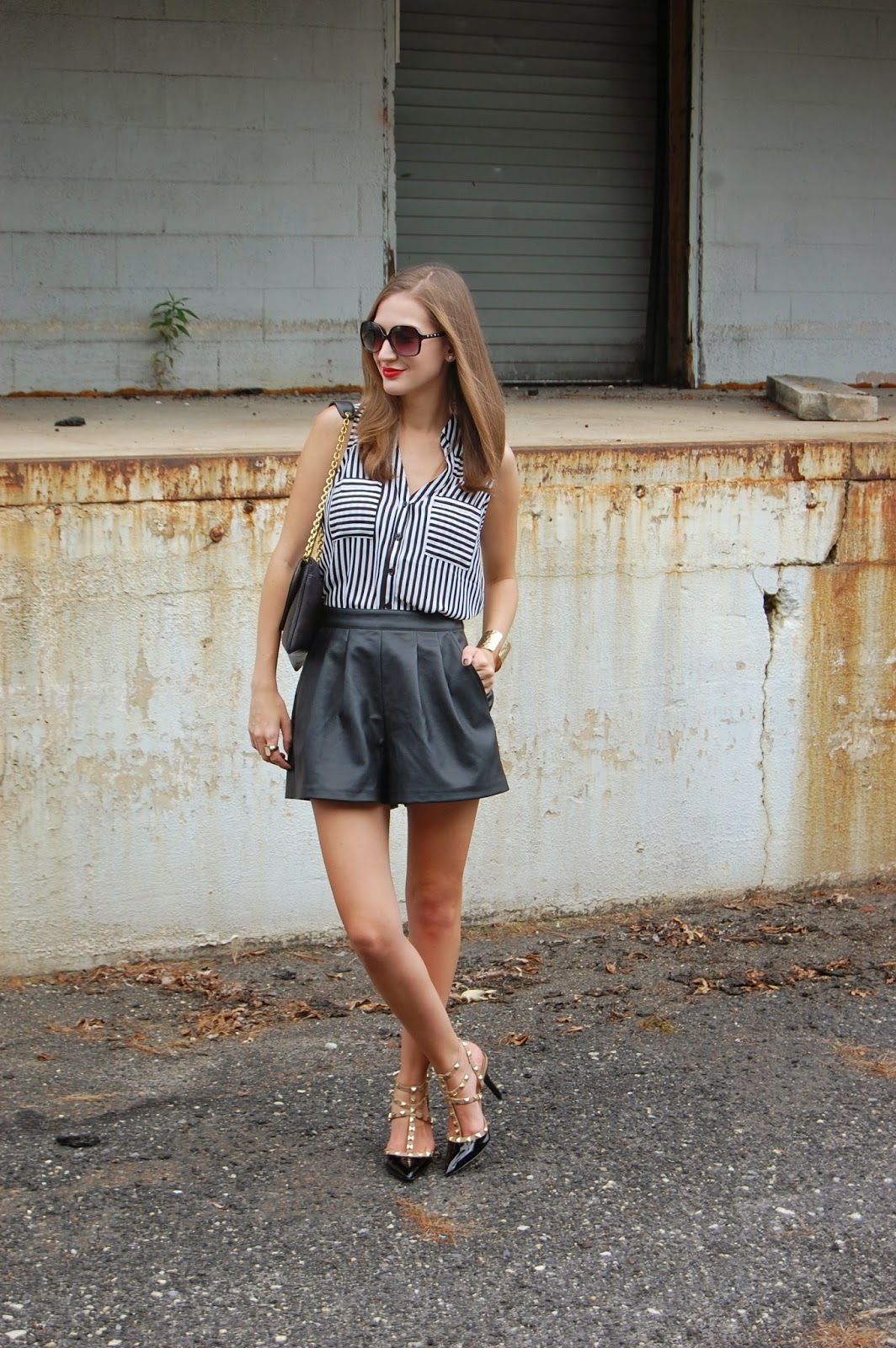 Wearing Tildon leather shorts, BCBG Paris Darron Pump