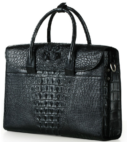 Retro Leather Genuine Alligator Upscale Large Capacity Black Bag