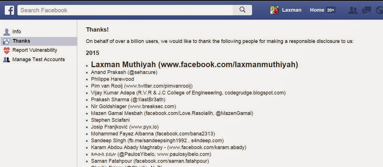 Facebook Whitehat Honour List 2015 - Laxman Muthiyah