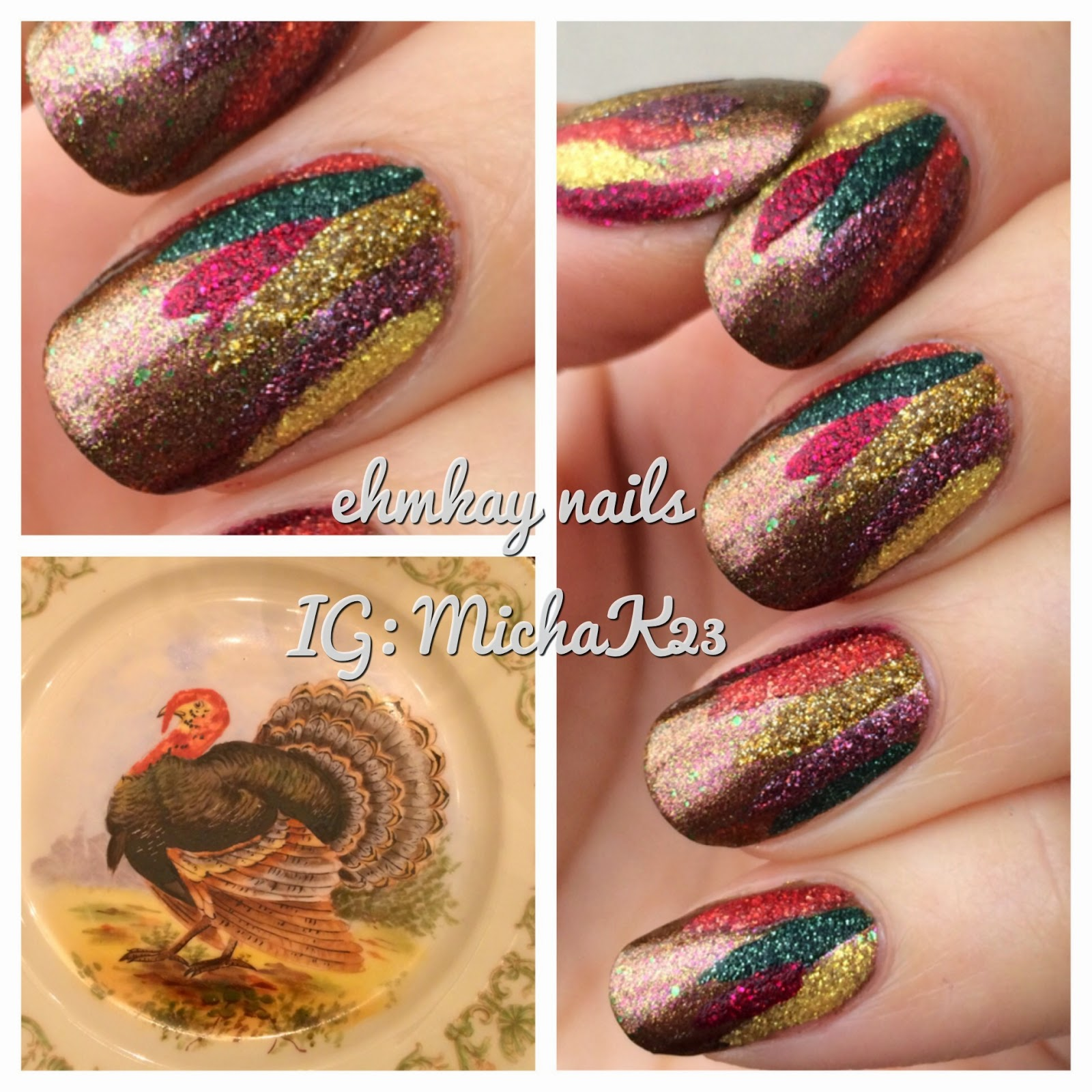 Ehmkay Nails Abstract Turkey Feathers Nail Art