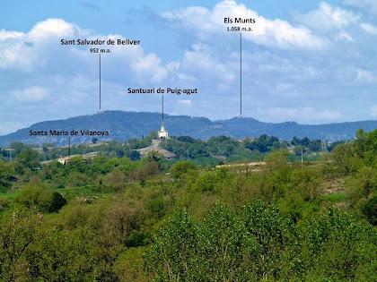 Quatre esglésies en una mateixa imatge obtinguda des dels Plans