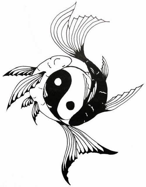 Yin Yang fishes tattoo stencil