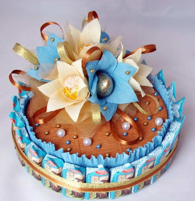 Торт из конфет пошагово своими руками 12