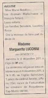 Décès Lucchini Benedetti Marguerite