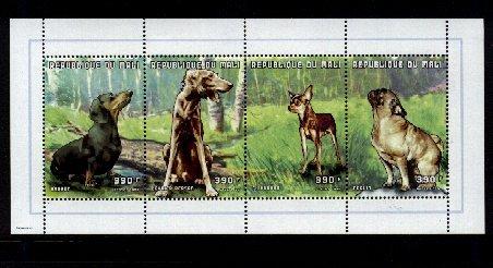 1998年マリ共和国 ダックスフンド サルーキ チワワ パグの切手シート