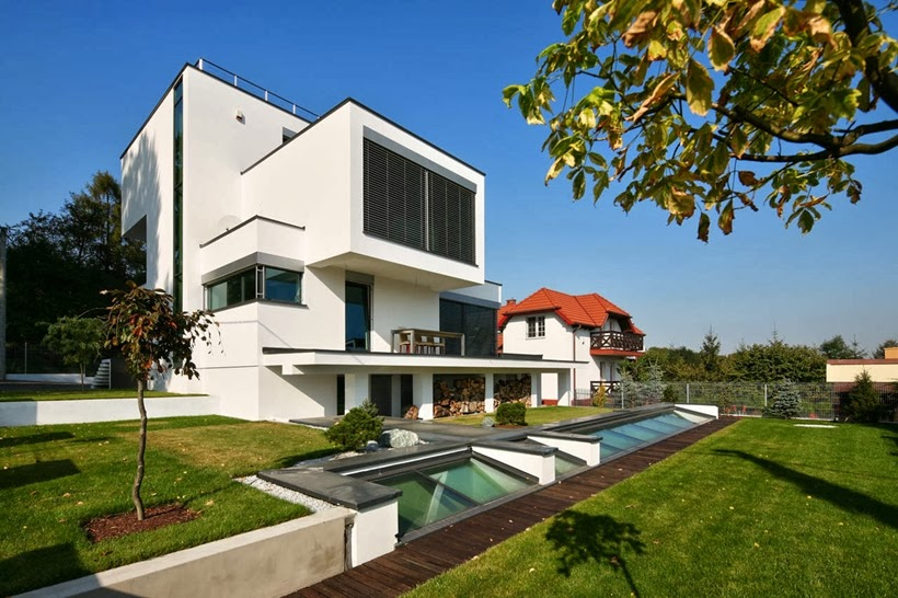 Backyard of Modern home in Krakow, Poland