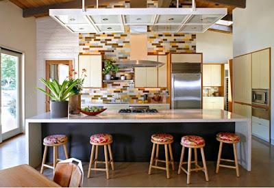 desain interior dapur minimalis dengan batu alam