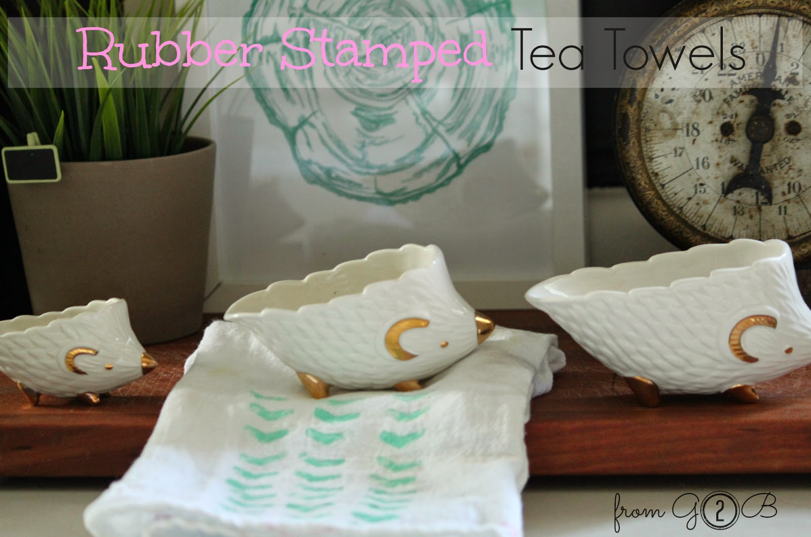 DIY Rubber Stamped Tea Towel