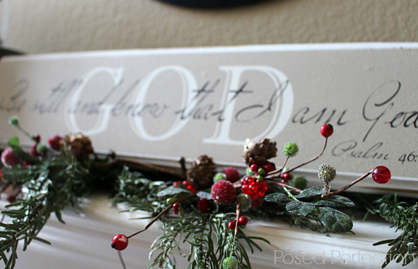 """Be still and know that I am God"" is the focal point of the Tranquil Christmas Mantel"