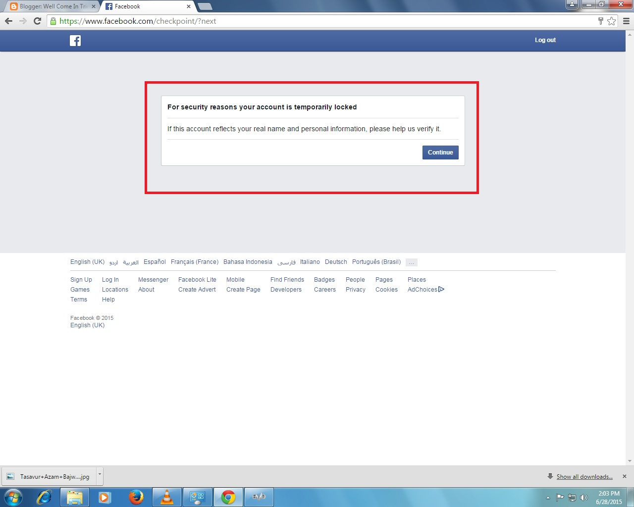 Facebook account temporarily locked solution