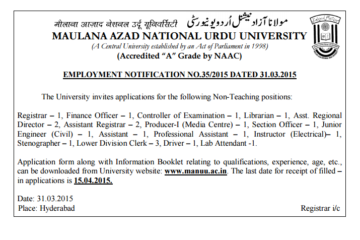 MANUU Recruitment 2015 for Assistant LDC Driver and Others