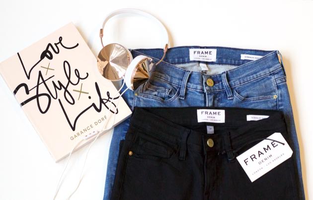 Blue and Black FRAME denim skinny jeans, Garance Dore book, Frends Headset
