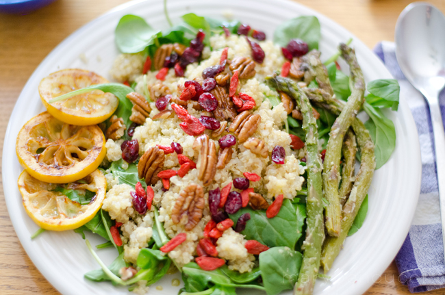 Quinoa and Arugula Salad with Roasted Asparagus and Lemon (serves 2)