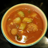 Tomato, paprika soup with leftovers