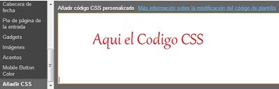 Añadir codigo CSS en Blogger