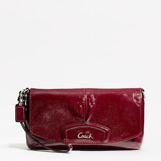 Ready Stock Coach Patent Large Flap Wristlet F48303 Crimson