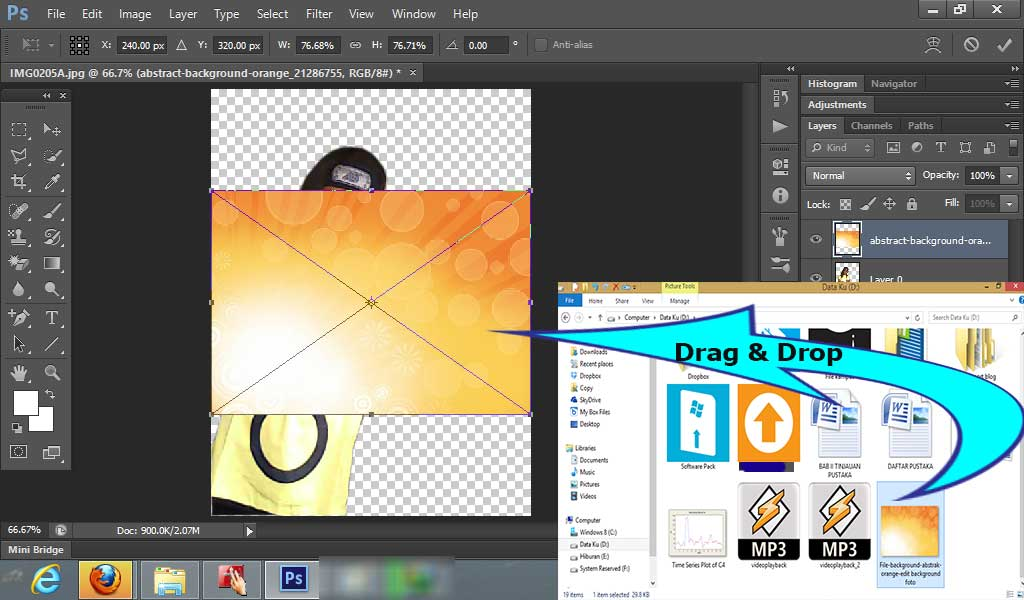 cara edit background dengan photoshop, belajar photoshop, tutorial